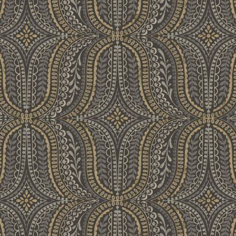 Farah Geometric Black & Gold Effect Wallpaper