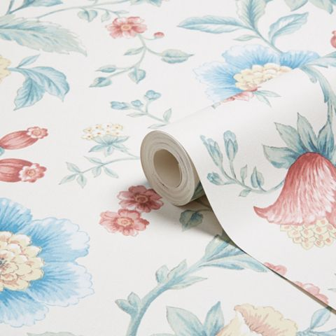 Laurette Blue & Red Floral Wallpaper