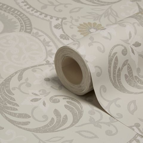 Portobello Grey Floral Damask Wallpaper