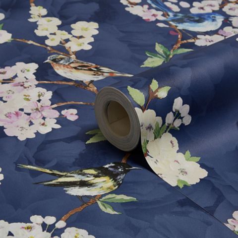 Maylea Floral Navy Wallpaper