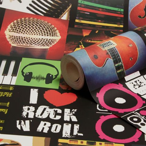 I Love Rock & Roll Multi Wallpaper