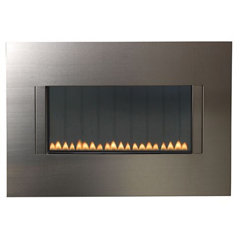 Cascara Stainless Steel Effect Manual Control Wall Hung Gas Fire