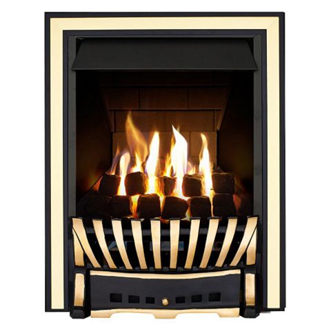 Focal Point Elegance Multi Flue Black & Brass Effect Remote Control Inset Gas Fire