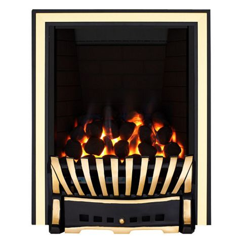 Elegance Full Depth Black & Brass Effect Remote Control Inset Gas Fire