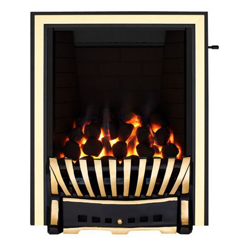 Focal Point Elegance Black & Brass Effect Slide Control Inset Gas Fire
