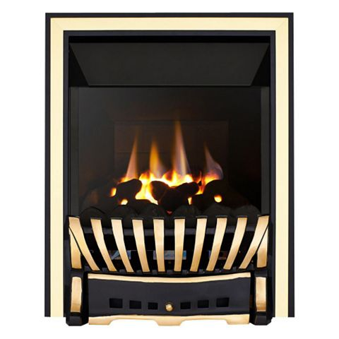 Focal Point Elegance High Efficiency Black & Brass Manual Control Inset Gas Fire