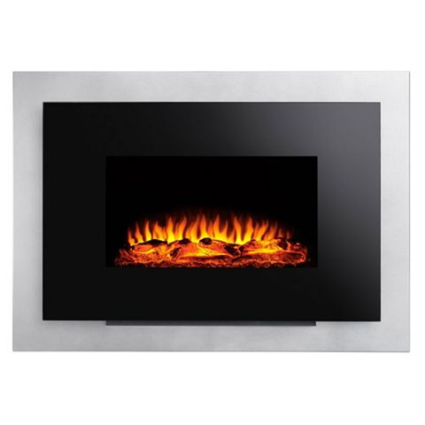 Yeovilton Black Remote Control Wall Hung Electric Fire