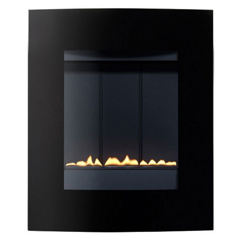 Ebony Black Manual Control Wall Hung Gas Fire