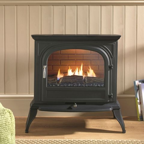 Dalvik Flueless Black Slide Control Gas Stove