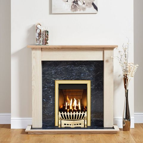Elegance Brass Inset Gas Fire Suite