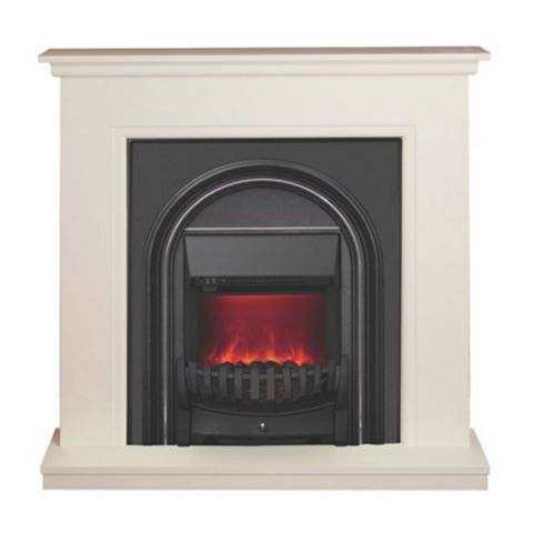 Be Modern Colville Soft White & Anthracite Inset Electric Fire Suite