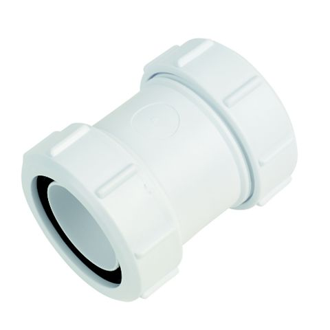 McAlpine Waste Straight Connector (Dia)40mm, White