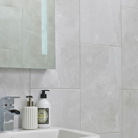 Arlington Marble Mist Stone Effect Ceramic Wall & Floor Tile, Pack of 6, (L)498mm (W)298mm