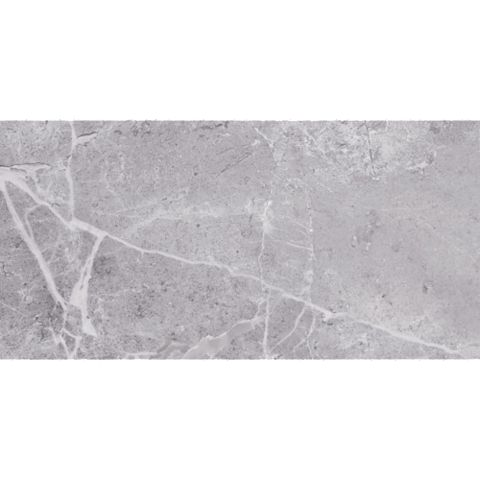 Silverthorne Marble Silver Stone Effect Ceramic Wall Tile, Pack of 8, (L)248mm (W)498mm