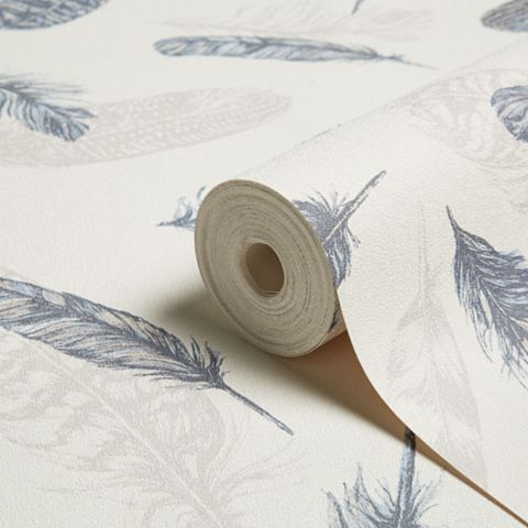Plume Blue & Cream Feathers Wallpaper