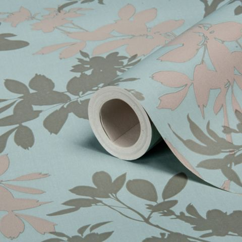 Divine Motif Blue Floral Wallpaper