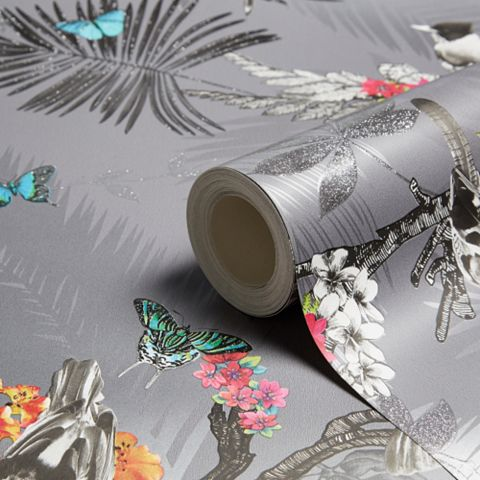 Mystical Forest Slate Flora & Fauna Glitter Effect Wallpaper