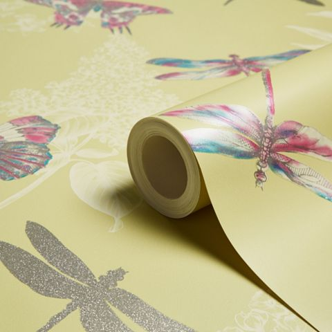 Enchanted Wings Citrus Insects Glitter Effect Wallpaper