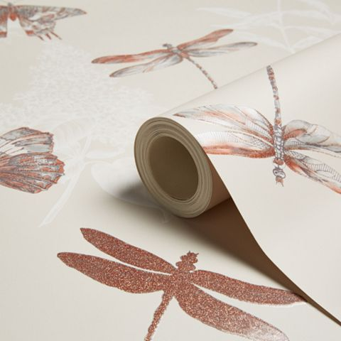 Enchanted Wings Taupe Insects Glitter Effect Wallpaper