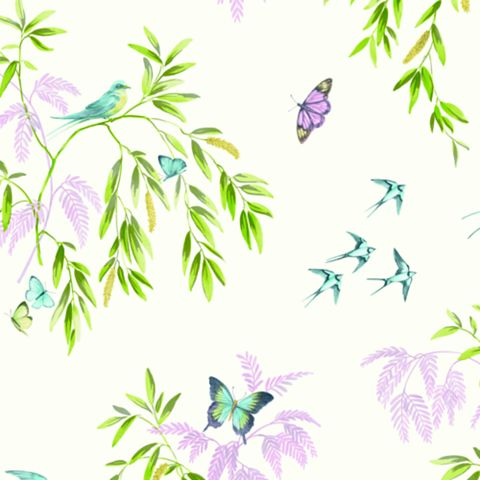 Halcyon Days Cream Birds, Butterflies & Trees Glitter Effect Wallpaper