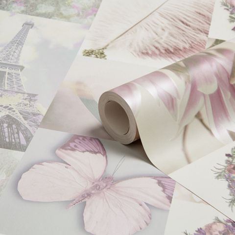 Parisian Memories Pink Collage Wallpaper