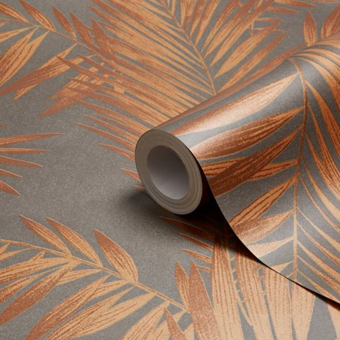 Cressida Copper & Grey Leaves Glitter Effect Wallpaper