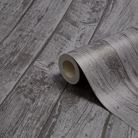 Beechwood Charcoal Wood Planks Wallpaper