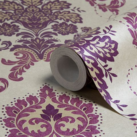 Vasari Aubergine Damask Glitter Effect Wallpaper