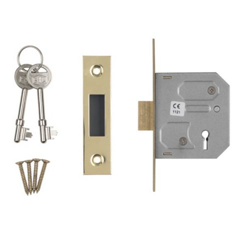 Smith & Locke 64mm Electro Brass 3 Lever Mortice Deadlock