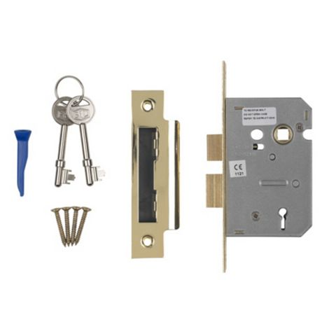 Smith & Locke 64mm Electro Brass 3 Lever Mortice Sashlock