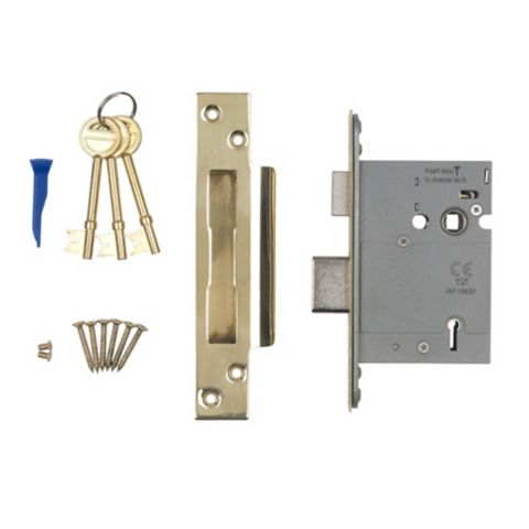 Smith & Locke 76mm Stainless Brass 5 Lever Mortice Sashlock