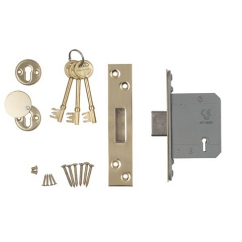 Smith & Locke 64mm Stainless Brass 5 Lever Mortice Deadlock