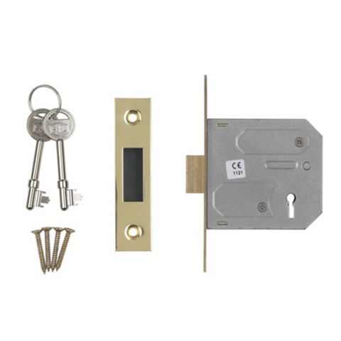 Smith & Locke 76mm Brass Effect 3 Lever Mortice Deadlock