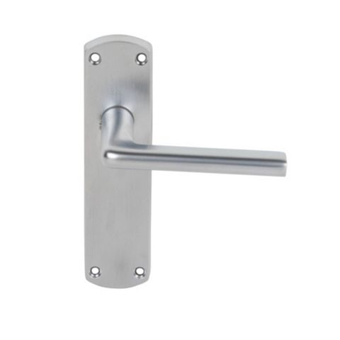 Smith & Locke Uno Satin Chrome Effect Lever Latch Door Handles, Pair