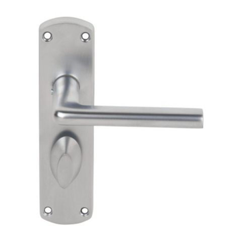 Smith & Locke Uno Satin Chrome Effect WC Lever Door Handles, Pair