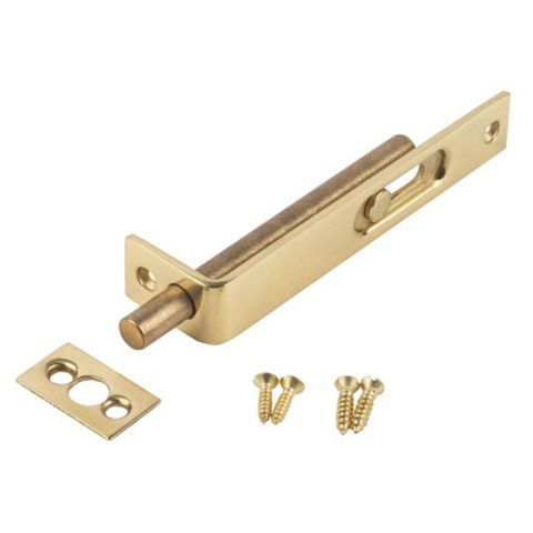 Smith & Locke Polished Brass Effect Brass Surface Bolt (L)100mm
