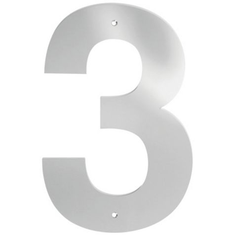 Polished Stainless Steel Door Numeral 3