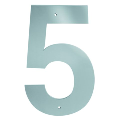 Polished Stainless Steel Door Numeral 5