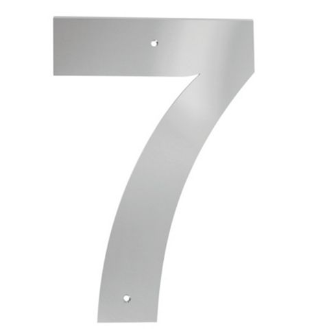 Polished Stainless Steel Door Numeral 7