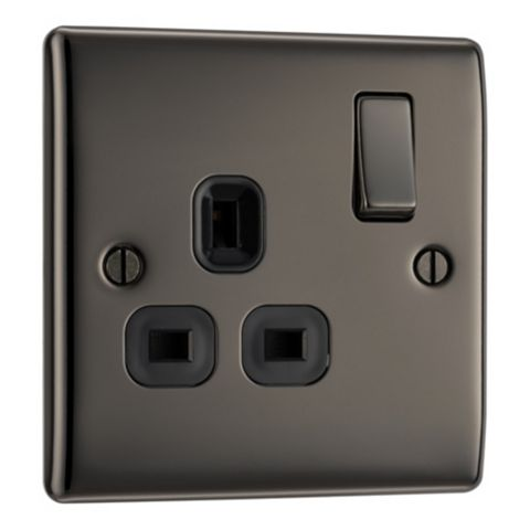 British General 13A 1-Gang Black Polished Black Nickel Effect Switched Socket
