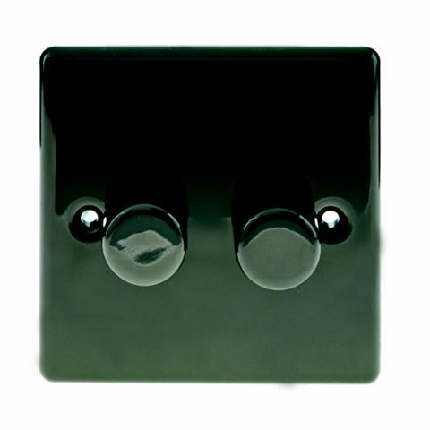 British General 2-Gang 2-Way Black Nickel Push On/Off with Rotary Dimming Dimmer Switch