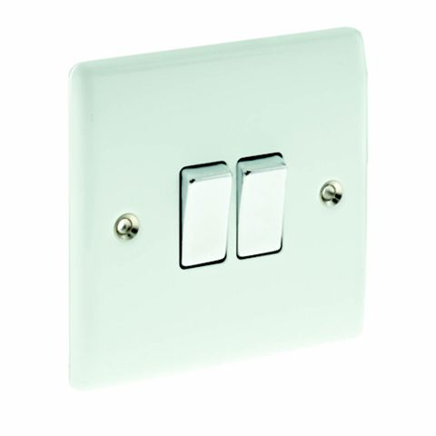 British General 2-Gang 2-Way 10AX White Switch