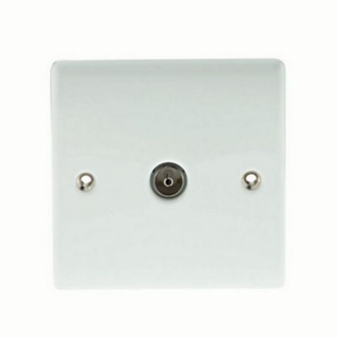 British General Low Profile White Coaxial Socket