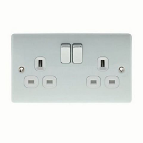 13A 2-Gang White Polished Switched Socket