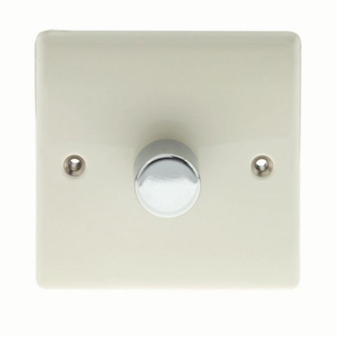 British General 1-Gang 2-Way Cream Push Dimmer Switch