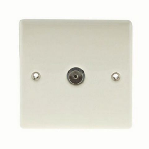 Low Profile Cream Co-Axial Socket