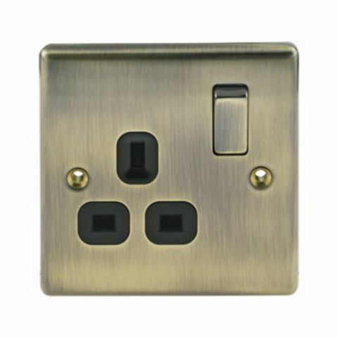 13A 1-Gang Antique Brass Brushed Switched Socket