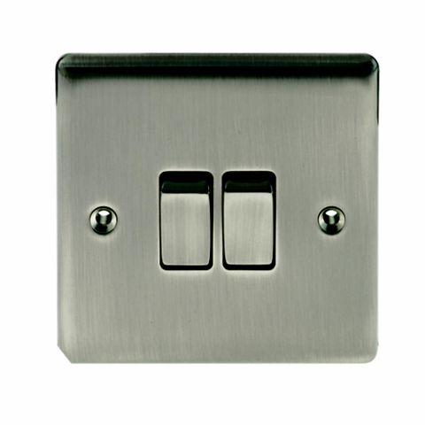 British General 2-Gang 2-Way 10AX Silver Switch