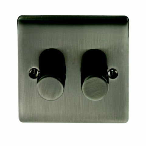 BG 2-Gang 2-Way Silver Iridium Push Dimmer Switch