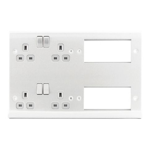 13A 2-Gang Brushed Switched Combination Plate